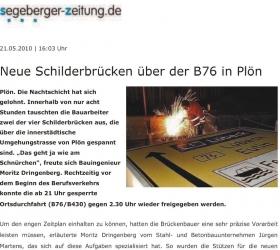 21. Mai 2011Segeberger Zeitung