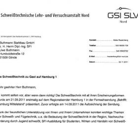 11. November 2002Dankschreiben der SLV Nord Schweisstechnik