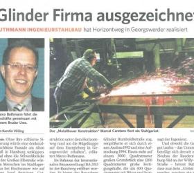 29. Dezember 2014Bergedorfer ZeitungGlinder Firma ausgezeichnet