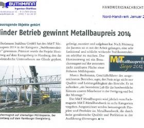 Januar 2015Nord HandwerkGlinder Betrieb gewinnt Metallbaupreis 2014