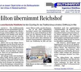 2. März 2015 Hamburger Abendblatt Hotel-Reichshof in Hamburg