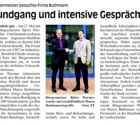 9. Juni 2015  Glinder Zeitung Sachsenwald Bürgermeister Warmer zu Besuch bei BUTHMANN