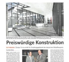 7. Dezember 2017 Bergedorfer Zeitung  Preiswürdige Konstruktion