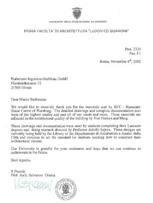 6. November 2002Dankschreiben der Universita degli studi die Roma La Sepienza
