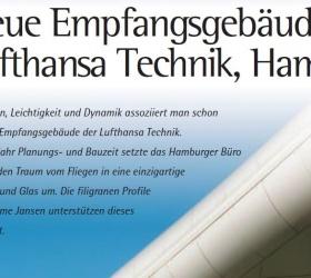 Januar 2001FASSADEN-ARCHITEKTUREmpfangsgebäude Lufthansa Technik AG Gebäude des Jahres 2000