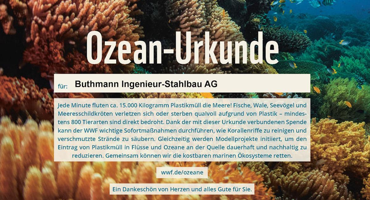 WWF Spenden statt schenken Ozean Urkunde
