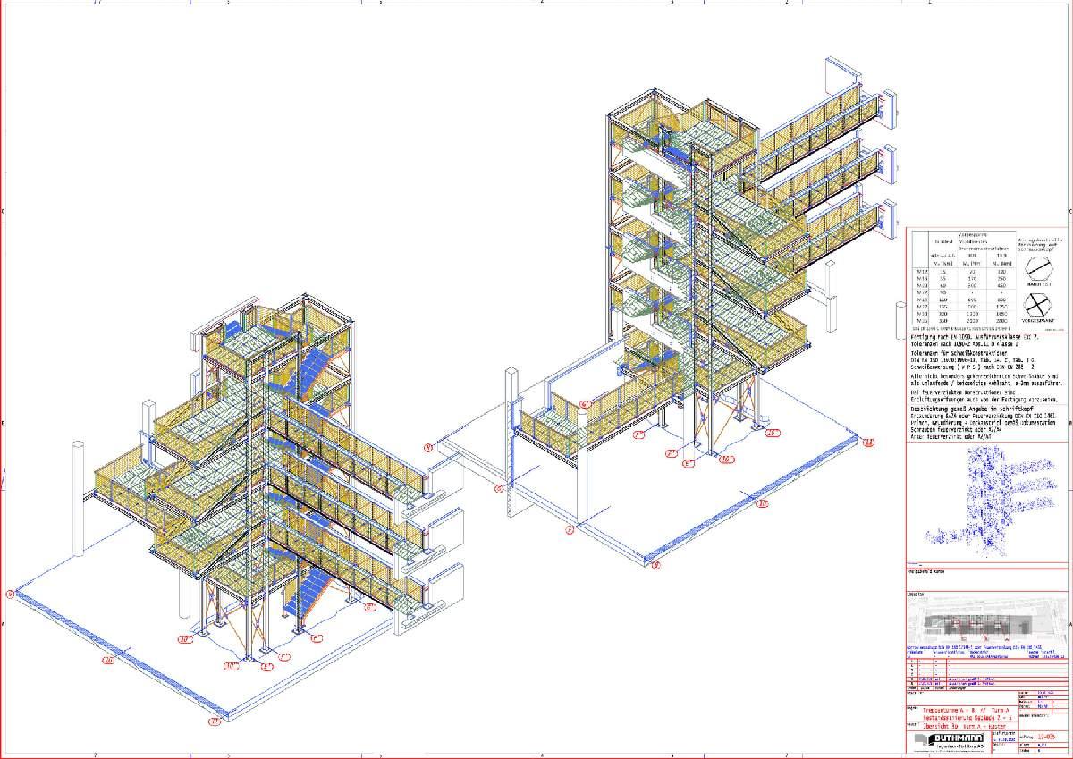 Bauvorhaben 2 große Fluchttreppentürme 06